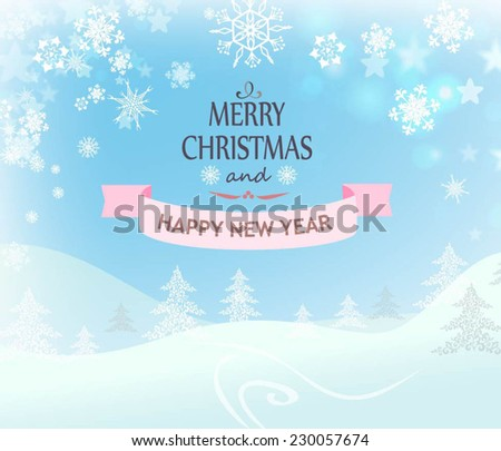 Merry Christmas Landscape. Vector - stock vector