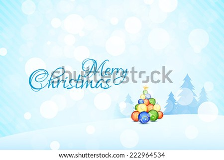 Merry Christmas Landscape with Christmas Balls - stock vector