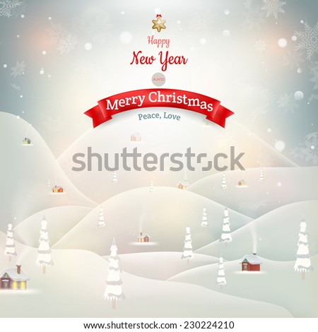 Merry Christmas Landscape with village. EPS 10 vector file included - stock vector