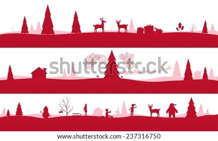 Merry Christmas Landscapes, set of red festive backgrounds