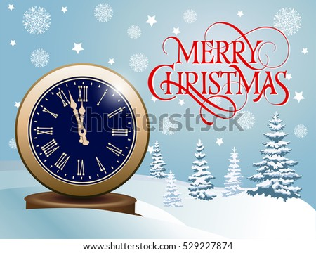Merry Christmas Lettering and Clock