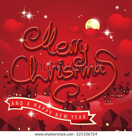Merry Christmas Lettering, Cartoon Background - Vector Illustration, Graphic Design Useful For Your Design - stock vector