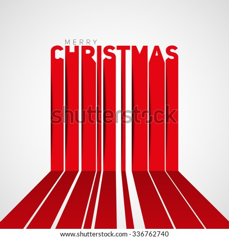 Merry christmas lettering, christmas card, vertical stripe lines, papercut style - stock vector