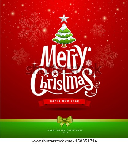 Merry Christmas lettering design background, vector illustration - stock vector