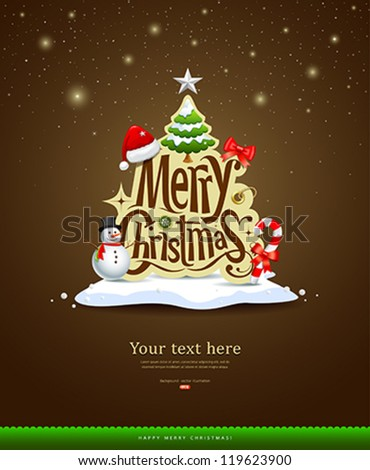 Merry Christmas lettering design greeting card background, vector illustration - stock vector