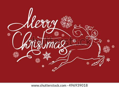 Merry Christmas lettering design. Vector illustration. EPS 10
