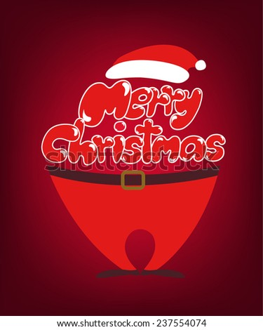 Merry Christmas lettering for greeting Card, vector illustration. - stock vector