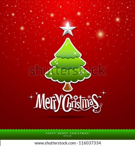Merry Christmas lettering green tree background, vector illustration - stock vector