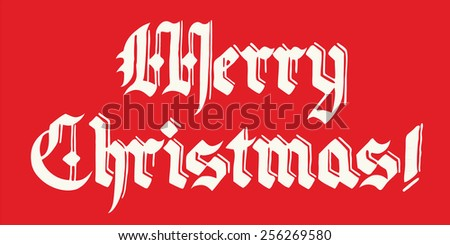 merry christmas lettering illustration vector, in vintage font; white text on red background - stock vector