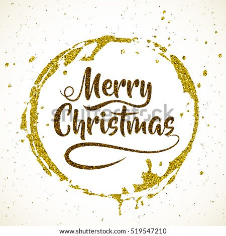Merry Christmas. Lettering on abstract grunge striped textures. Vector round gold strokes painted by brush.