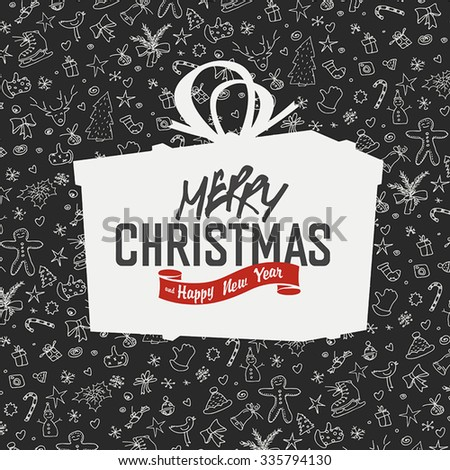 Merry Christmas Lettering on Gift Box Silhouette. On hand drawn xmas background - stock vector