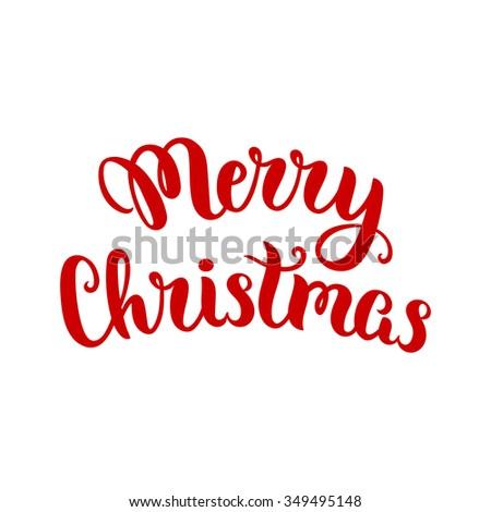 Merry Christmas lettering, vector art illustration. - stock vector