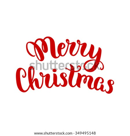 Merry Christmas lettering, vector art illustration. Christmas card illustration. - stock vector