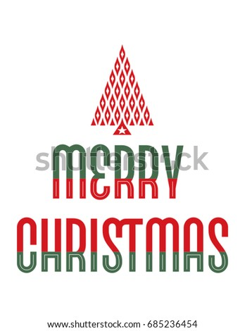 Merry Christmas lettering with tree