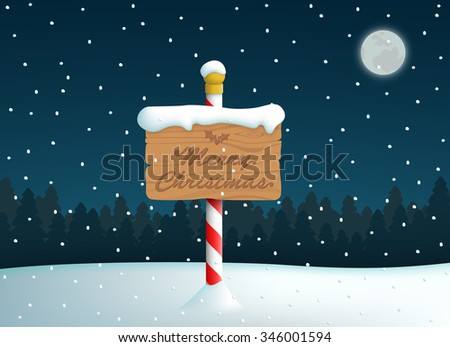 Merry Christmas Logo Wooden Sign On Pole With Snow Fall Background - stock vector
