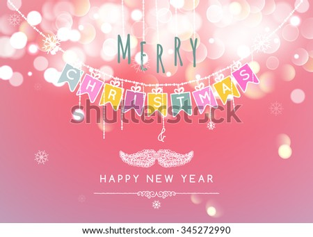 Merry Christmas message and light Bokeh background.  Vector illustration Eps 10.