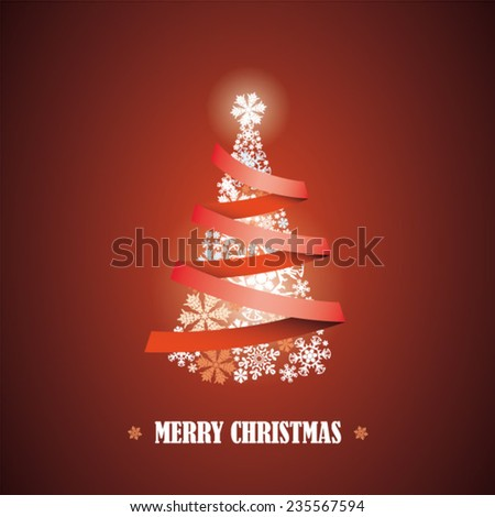 Merry Christmas message and ribbons around tree, Happy New Year, abstract beautiful card as design element - stock vector