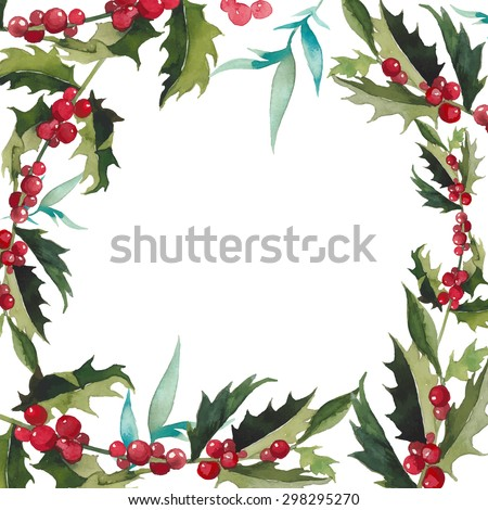 Merry Christmas mistletoe with berry frame. Watercolor traditional hand drawn greeting card. Holiday vector floral design isolated on white background. - stock vector
