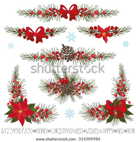 Merry Christmas,new year decor set.Garland borders  and corners.Spruce fir tree branches,pine cones,red berries,Poinsettia flower,holly.Holiday Vector Illustration.Greeting cards,invitation,web,print - stock vector