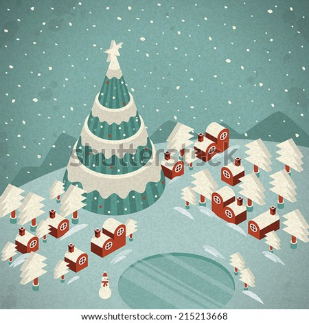 Merry Christmas night landscape greeting card and background - stock vector
