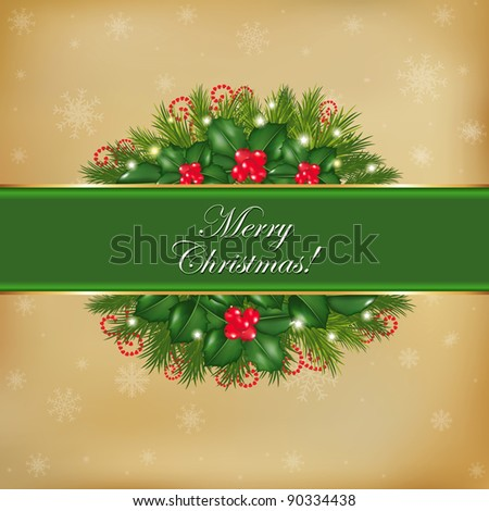 Merry Christmas Old Card, Vector Illustration - stock vector