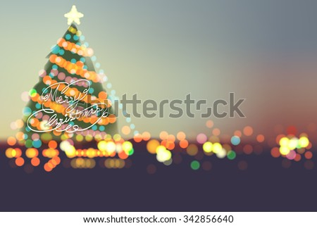 Merry Christmas 2016  on bokeh night city - stock vector