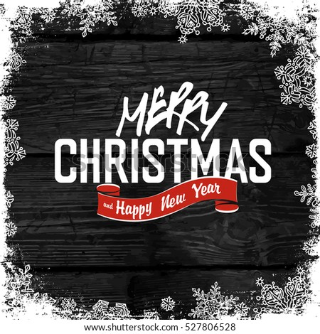 Merry Christmas! On monochrome hardwood background with the texture of a old wooden planks, dark wood, black hardwood, vector illustration.