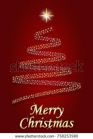 Merry Christmas on red background vector illustration