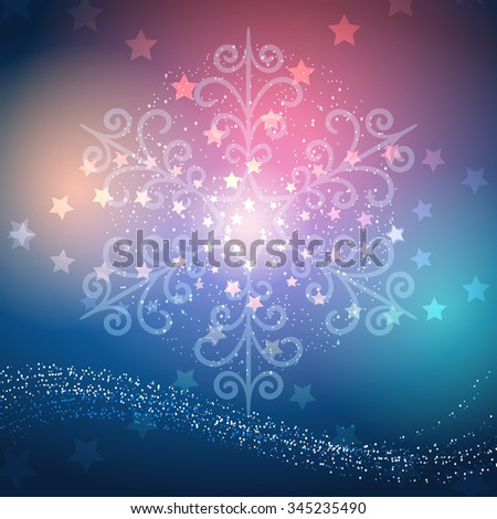 Merry Christmas or Happy New Year Holidays Design. Snowflake and stars against festive background. - stock vector