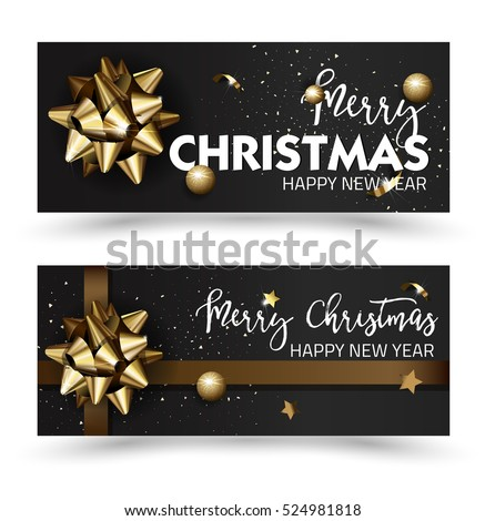 Merry Christmas or Happy New Year web banner design template. Christmas Greeting cards with golden bows and copy space. Christmas Vector illustration.