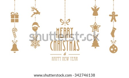 merry christmas ornaments hanging gold isolated background - stock vector