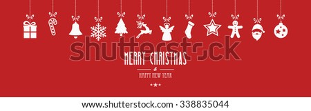 merry christmas ornaments hanging red background - stock vector