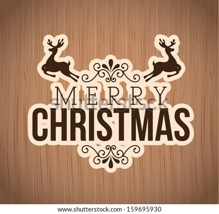 merry christmas  over wooden background  vector illustration   - stock vector