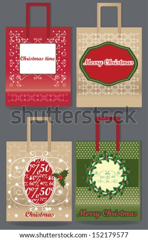 Merry Christmas paper bag set, vector illustration