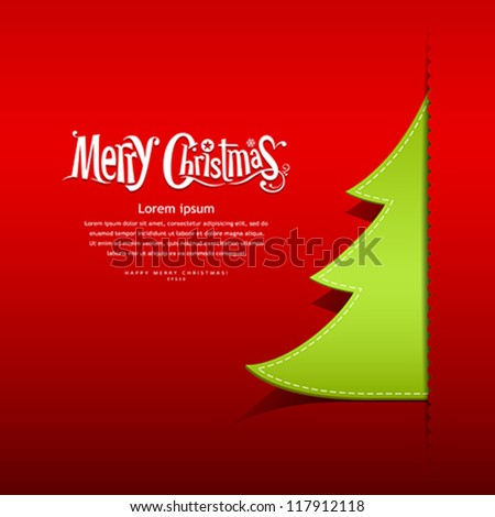 Merry Christmas paper green tree design greeting card on red background, vector illustration - stock vector