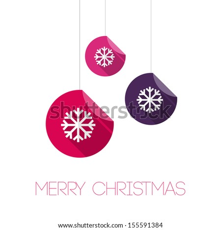 Merry Christmas Paper Ornaments Card - Vector Illustration - Flat Design