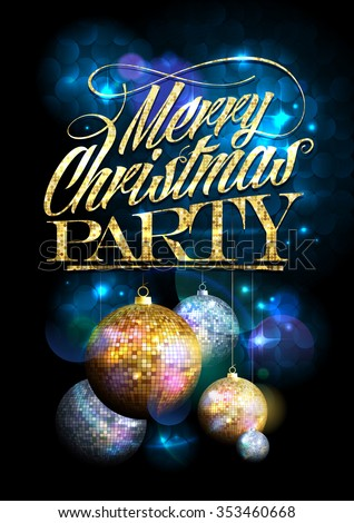 Merry Christmas party design with fur tree golden and silver mosaic balls. - stock vector