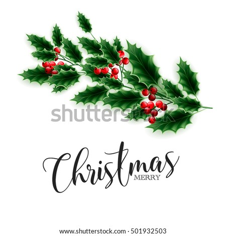 Merry christmas party invitation greeting card stock vector 2018 merry christmas party invitation or greeting card template with lettering and winter wreath of holly branches m4hsunfo Gallery