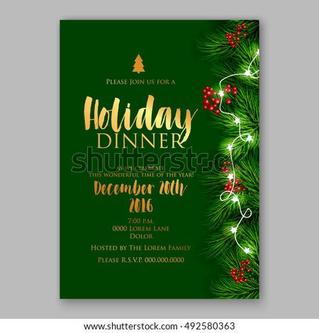 Merry Christmas party invitation/ Winter holiday party invitation with christmas tree, pine , fir branch red berry christmas lights garland