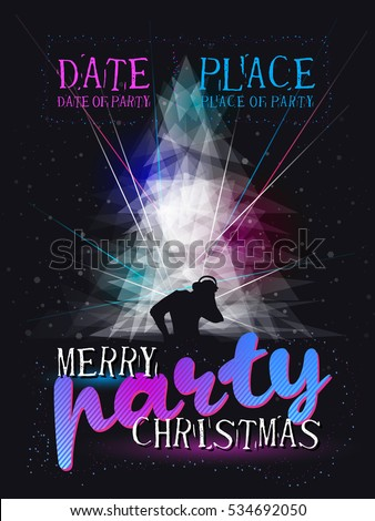 Merry Christmas party poster with snowflakes, dj, laser, dark background