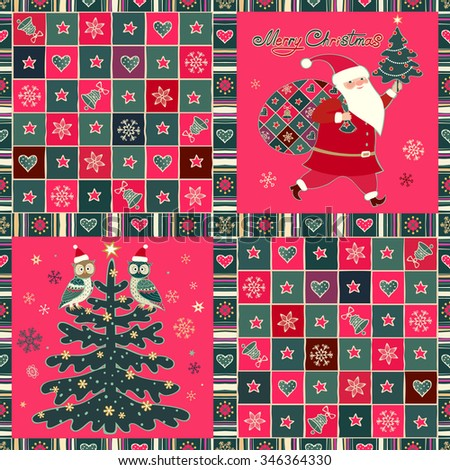 Merry Christmas patchwork background. Santa Claus, owls, Xmas tree, stars, hearts and snowflakes in ornamental frame. Vector patterns, greeting cards set. - stock vector
