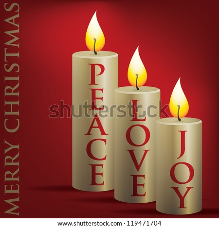 Merry Christmas Peace, Love, Joy candle card in vector format. - stock vector