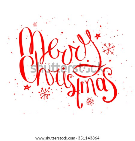 Merry christmas phrase isolated on white background  - stock vector