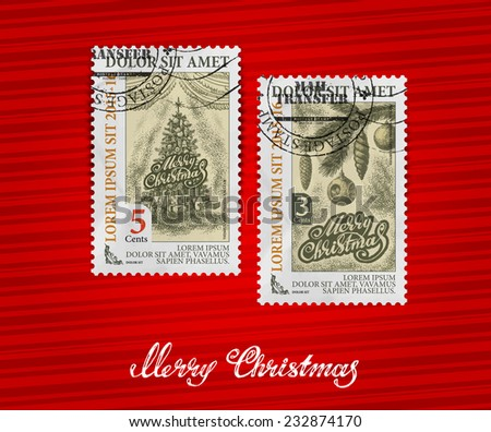 Merry Christmas. Postage stamp - stock vector