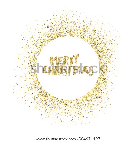 Merry Christmas postcard. Gold sparkles on white background.