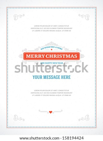 Merry Christmas postcard ornament decoration background. Vector illustration Eps 10. Happy new year message, Happy holidays wish.