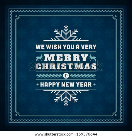 Merry Christmas postcard ornament decoration background. Vector illustration Happy new year message, Happy holidays wish.  - stock vector