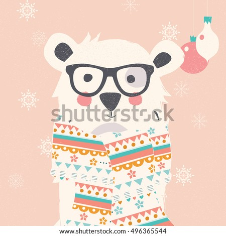 Merry Christmas postcard with hipster polar white bear wearing scarf, vector illustration