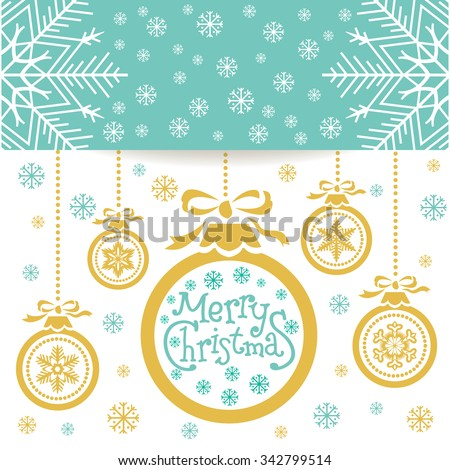 Merry Christmas  poster, Christmas ball with fir branches and decoration elements. This illustration can be used as a greeting card, poster or print. - stock vector