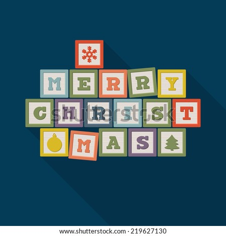Merry Christmas poster design with wooden blocks. Vector illustration - stock vector
